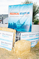 The Political Soapbox stands empty after 5 candidates addressed the crowds at the Iowa State Fair in Des, Moines, Iowa, on Sun., Aug. 11, 2019.