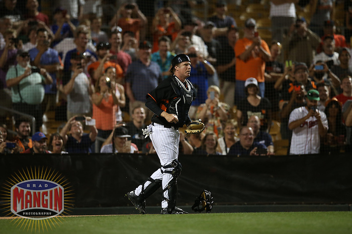 GLENDALE, AZ - MARCH 12:  Actor Will Ferrell of the San Francisco Giants plays catcher against the Chicago White Sox during a spring training game at Camelback Ranch on March 12, 2015 in Glendale, Arizona. (Photo by Brad Mangin)