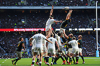 Duane Vermeulen of South Africa takes the lineout ball as Tom Wood of England challenges during the QBE International match between England and South Africa at Twickenham Stadium on Saturday 15th November 2014 (Photo by Rob Munro)