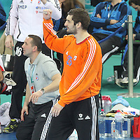 25.01.2013 Barcelona, Spain. IHF men's world championship, 3º/4º place. Picture show Mirko Alilovic in action during game between Slovenia vs Croatia at Palau St. Jordi
