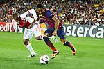 UEFA Champions League 2013/2014.<br /> FC Barcelona vs AFC Ajax: 4-0 - Game: 1.<br /> Neymar vs Duarte.