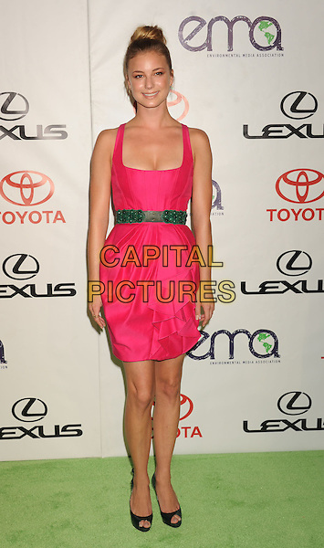 Emily VanCamp.The 2012 Environmental Media Awards at Warner Bros. Studios in Burbank, California, USA..September 29th, 2012   .EMA EMAS full length dress black peep toe shoes pink sleeveless cleavage hair up bun grey gray belt.CAP/ROT/TM.©Tony Michaels/Roth Stock/Capital Pictures