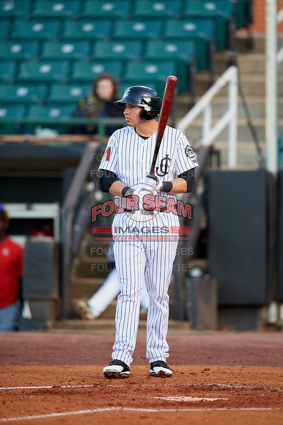 Jackson Generals designated hitter Rudy Flores (11) at bat during a game against the Chattanooga Lookouts on April 27, 2017 at The Ballpark at Jackson in Jackson, Tennessee.  Chattanooga defeated Jackson 5-4.  (Mike Janes/Four Seam Images)