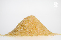 Rice stack on white background, Studio (Licence this image exclusively with Getty: http://www.gettyimages.com/detail/82406662 )