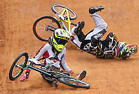 BOGOTA - COLOMBIA - 30-06-2013:  Se realiza en la Unidad Deportiva de El Salitre en la Pista Mario Soto la VI Y VII validas nacionales del Torneo de BMX, con la participación de mas  quinientos deportistas de las diferentes ligas del país, selectivo y preparatorio al Campeonato Mundial UCI BMX con sede en Nueva Zelandia (Foto:VizzorImage / Felipe Caicedo / Staff). takes place in Sports Unit El Salitre, on Track Mario Soto la VI and VII valid BMX National Tournament, with the participation of over five hundred athletes from the different leagues in the country, selective and preparatory to UCI BMX World Championships based in New Zealand  (Photo: VizzorImage / Felipe Caicedo. Photo: VizzorImage/ Felipe Caicedo/ STAFF