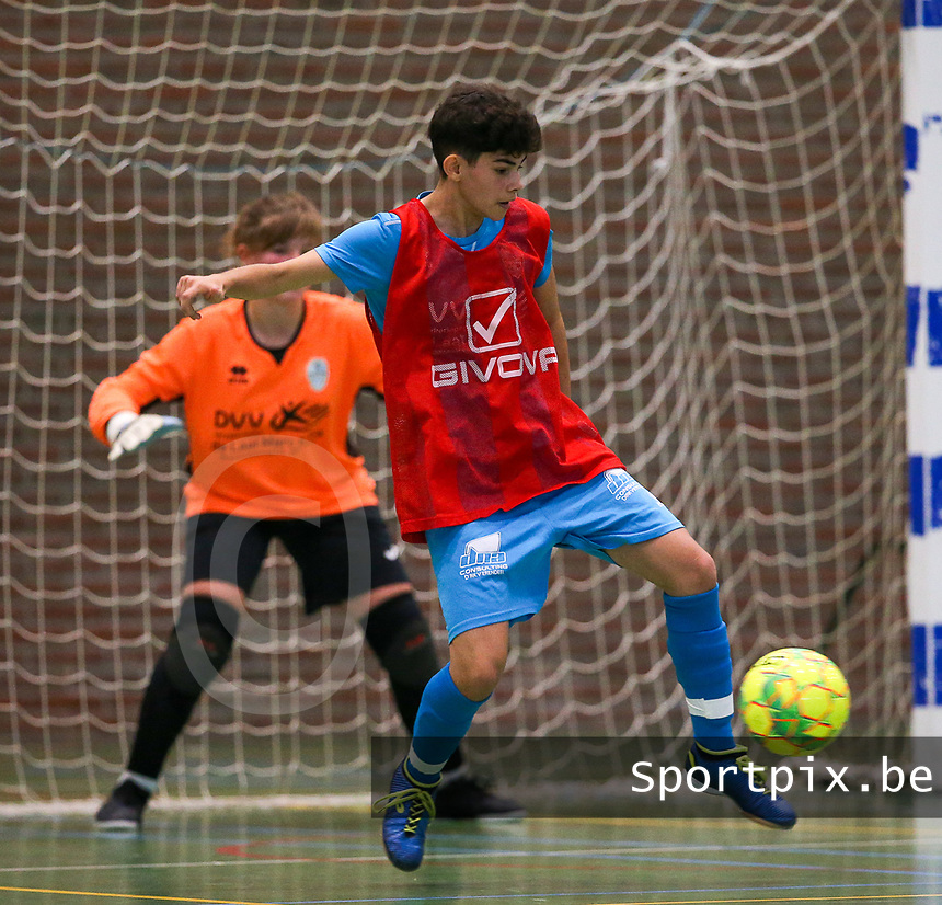 20190915– HALLE , BELGIUM : FP Halle-Gooik Girls B player Aydan Rouschop is pictured during the Belgian Women's Futsal D1 match between FP Halle-Gooik A and FP Halle-Gooik B on Sunday 15th 2019 at the De Bres Sport Complex in Halle, Belgium. PHOTO SPORTPIX.BE | Sevil Oktem
