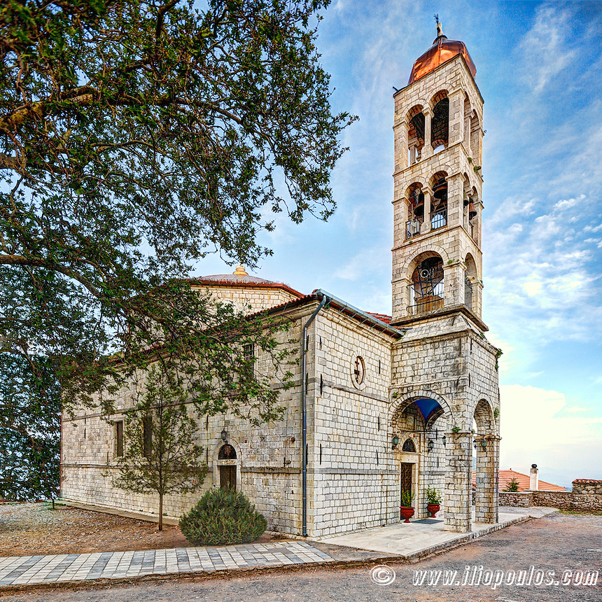 Agia Kyriaki church in square of Dimitsana, Greece.