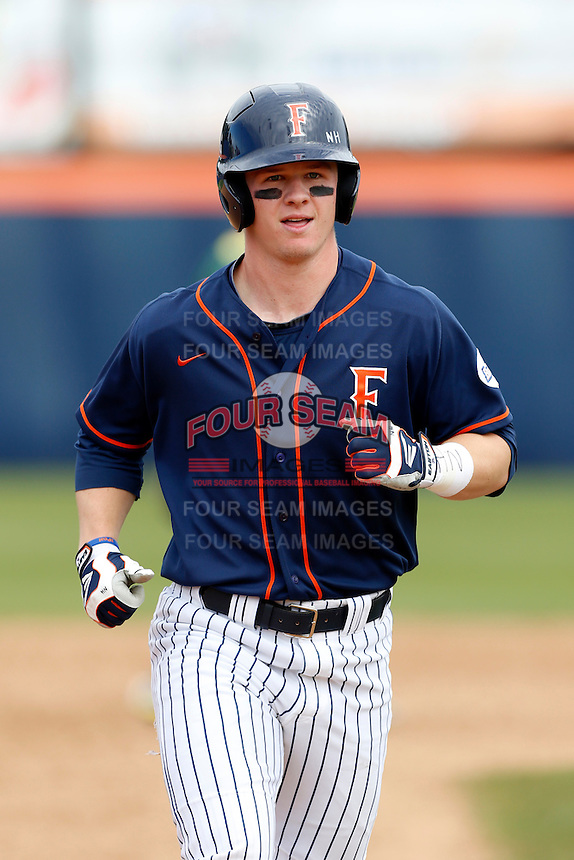 Austin Diemer #22 of the Cal State Fullerton Titans during a game against the Oregon Ducks at Goodwin Field on March 3, 2013 in Fullerton, California. (Larry Goren/Four Seam Images)