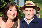 Portrait of middle aged woman and her elderly father, UK