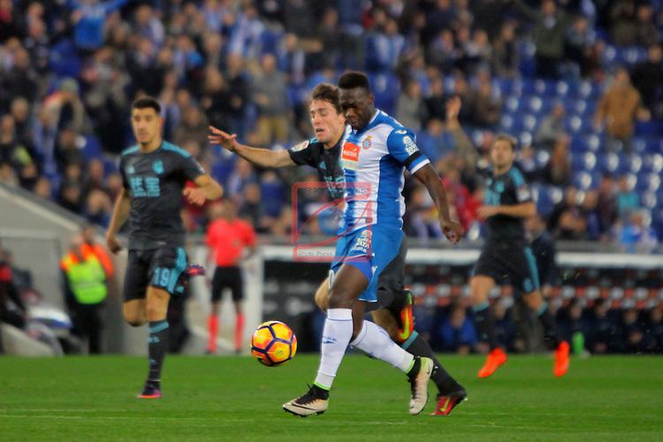 League Santander 2016/2017. Game: 22.<br /> RCD Espanyol vs Real Sociedad: 1-2.<br /> Odriozola vs Felipe Caicedo.