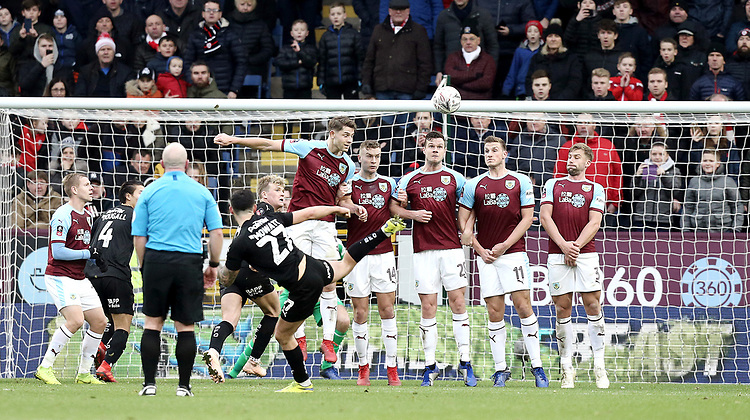 Barnsley's Alex Mowatt directs his free-kick over the Burnley all but just wide of target<br /> <br /> Photographer Rich Linley/CameraSport<br /> <br /> Emirates FA Cup Third Round - Burnley v Barnsley - Saturday 5th January 2019 - Turf Moor - Burnley<br />  <br /> World Copyright © 2019 CameraSport. All rights reserved. 43 Linden Ave. Countesthorpe. Leicester. England. LE8 5PG - Tel: +44 (0) 116 277 4147 - admin@camerasport.com - www.camerasport.com