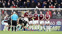 Barnsley's Alex Mowatt directs his free-kick over the Burnley all but just wide of target<br /> <br /> Photographer Rich Linley/CameraSport<br /> <br /> Emirates FA Cup Third Round - Burnley v Barnsley - Saturday 5th January 2019 - Turf Moor - Burnley<br />  <br /> World Copyright &copy; 2019 CameraSport. All rights reserved. 43 Linden Ave. Countesthorpe. Leicester. England. LE8 5PG - Tel: +44 (0) 116 277 4147 - admin@camerasport.com - www.camerasport.com