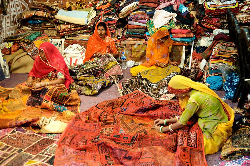 Women Sawing traditional GarmentsBikaner Rajasthan India,