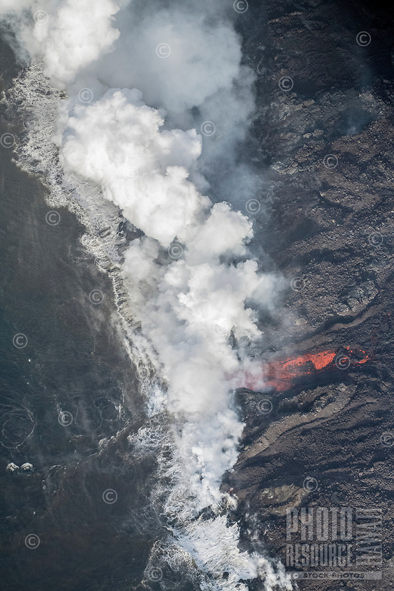 May 2018: Kilauea lava flow meets the Pacific Ocean by what was once Kapoho Bay, Puna, Big Island of Hawai'i.