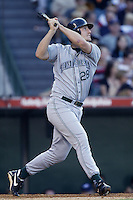 Steve Cox of the Tampa Bay Devil Rays bats during a 2002 MLB season game against the Los Angeles Angels at Angel Stadium, in Los Angeles, California. (Larry Goren/Four Seam Images)