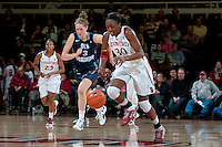 STANFORD, CA - NOVEMBER 17: Nnemkadi Ogwumike recovers a loose ball as Stanford hosted Old Dominion University at Maples Pavilion. The Cardinal defeated Big Blue 97-48.