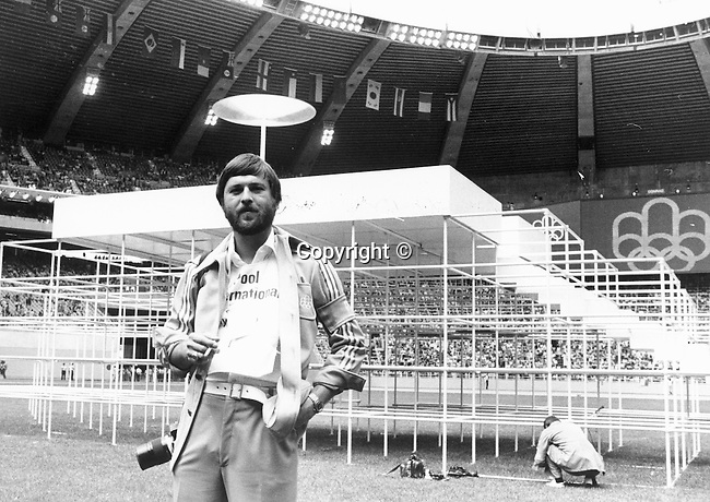 Photojournalist Ron Bennett at the 1976 Summer Olympics Games of XXI Olympiad international multi-sport event Montreal Quebec Canada,