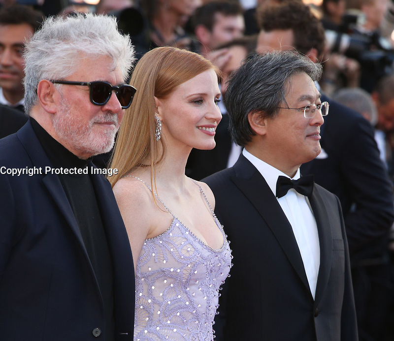 PEDRO ALMODOVAR, JESSICA CHASTAIN AND PARK CHAN-WOOK - RED CARPET OF THE FILM 'OKJA' AT THE 70TH FESTIVAL OF CANNES 2017