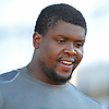 Ryan Clady #78 of the New York Jets talks to a reporter after a day of team training camp at Atlantic Health Jets Training Center in Florham Park, NJ on Wednesday, Aug. 3, 2016.
