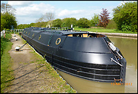 'Stealth' style canal boat for sale.