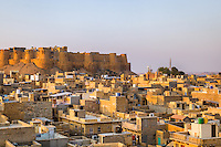 A view of Jaisalmer town and Fort from the top of Patwon-ki-Haveli<br /> Rajasthan, India.