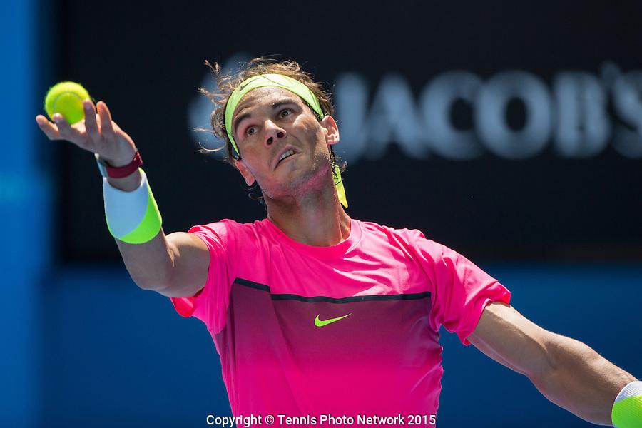 Rafael Nadal (ESP)<br /> <br /> Tennis - Australian Open 2015 - Grand Slam -  Melbourne Park - Melbourne - Victoria - Australia  - 19 January 2015. <br /> &copy; AMN IMAGES