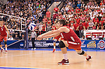 07 MAY 2016: Nicolas Szerszen (9) of Ohio State University returns a serve against Brigham Young University during the Division I Men's Volleyball Championship held at Rec Hall on the Penn State University campus in University Park, PA.  Ohio State defeated BYU 3-1 for the national title.  Ben Solomon/NCAA Photos