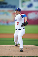 Chattanooga Lookouts pitcher Alex Wimmers (21) delivers a warmup pitch during a game against the Jacksonville Suns on April 30, 2015 at AT&T Field in Chattanooga, Tennessee.  Jacksonville defeated Chattanooga 6-4.  (Mike Janes/Four Seam Images)