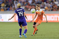Morgan Brian (6) of the Houston Dash looks to clear the ball in front of Becky Edwards (14) of the Orlando Pride on Friday, May 20, 2016 at BBVA Compass Stadium in Houston Texas. The Orlando Pride defeated the Houston Dash 1-0.
