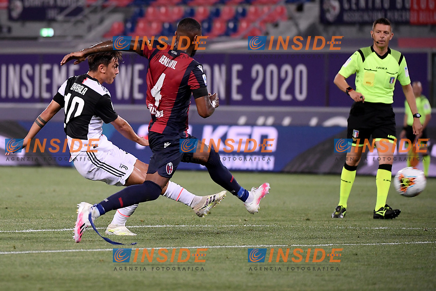Paulo Dybala of Juventus scores The goal of 0-2 during the Serie A football match between Bologna FC and Juventus at Dall'Ara stadium in Bologna ( Italy ), June 22th, 2020. Play resumes behind closed doors following the outbreak of the coronavirus disease. <br /> Photo Federico Tardito / Insidefoto