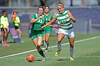 8 November 2015:  Marshall Midfielder McKenna Klodnick (33) advances the ball with North Texas Defender Hailey Hadden (13) in pursuit in the first half as the University of North Texas Mean Green defeated the Marshall University Thundering Herd, 1-0, in the Conference USA championship game at University Park Stadium in Miami, Florida.