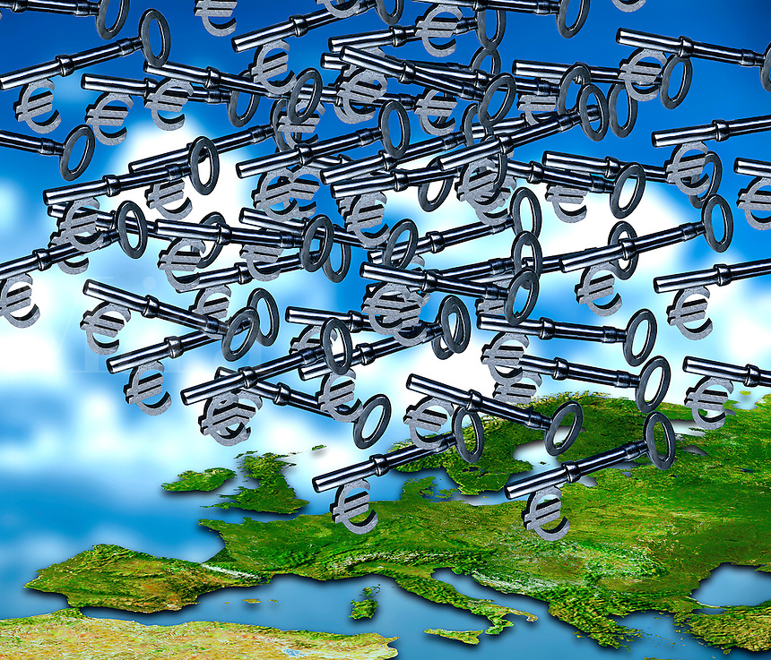 Lots of Euro keys raining down over Europe