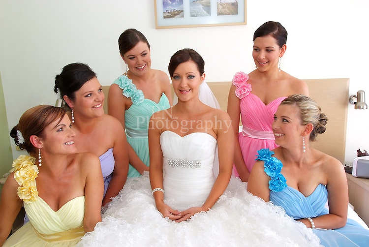 Beautiful bridal party from the amazing dress to the beautiful colors in the bridesmaids Kangaroo Island