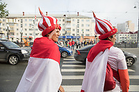 YEKATERINBURG, RUSSIA - June 21, 2018: Peru fans dressed in costume walk to their game against France in their 2018 FIFA World Cup group stage at Yekaterinburg Arena Stadium.
