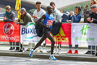 Daniel Wanjiru of Kenya wins the mens elite class at the London Marathon, shown here at the 40k point, during the 2017 Virgin Money London Marathon at London, England on 23 April 2017. Photo by Steve McCarthy/PRiME Media Images