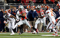 Ohio State Buckeyes running back Jalin Marshall (17) eludes the defense on the way to a touchdown in the third quarter of the NCAA football game at Ohio Stadium on Saturday, November 1, 2014. (Columbus Dispatch photo by Jonathan Quilter)