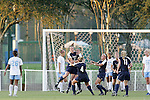 9 November 2007: Virginia's Meghan Lenczyk (21) celebrates with teammates following her goal at 22:15 of the first half. The University of North Carolina tied the University of Virginia 1-1 at the Disney Wide World of Sports complex in Orlando, FL in an Atlantic Coast Conference tournament semifinal match.  UNC advanced to the finals on penalty kicks, 4-2.