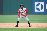 Ozzie Albies (2) of the Gwinnett Braves takes his lead off of second base against the Charlotte Knights at BB&T BallPark on May 22, 2016 in Charlotte, North Carolina.  The Knights defeated the Braves 9-8 in 11 innings.  (Brian Westerholt/Four Seam Images)
