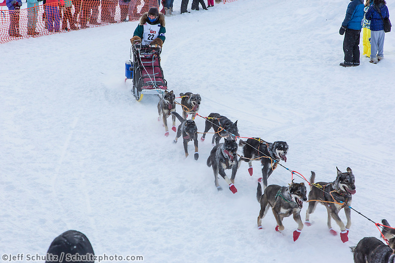 Jodi Bailey of Fairbanks, Alaska drops down onto the Chena River with her team shortly after the start of the 2015 Iditarod sled dog race. in Fairbanks. Photo by Todd Paris/IditarodPhotos.com 2015