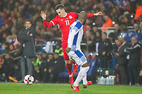 Tom Lawrence of Wales is blocked by Felipe Baloy of Panama during the International Friendly match between Wales and Panama at the Cardiff City Stadium, Cardiff, Wales on 14 November 2017. Photo by Mark Hawkins.