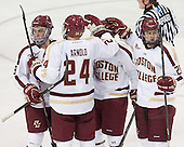Ryan Fitzgerald (BC - 19), Bill Arnold (BC - 24), Scott Savage (BC - 28) - The Boston College Eagles defeated the visiting St. Francis Xavier University X-Men 8-2 in an exhibition game on Sunday, October 6, 2013, at Kelley Rink in Conte Forum in Chestnut Hill, Massachusetts.
