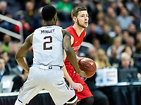 Washington, DC - MAR 10, 2018: Davidson Wildcats guard Jon Axel Gudmundsson (3) is guarded by St. Bonaventure Bonnies guard Matt Mobley (2) during semi final match up of the Atlantic 10 men's basketball championship between Davidson and St. Bonaventure at the Capital One Arena in Washington, DC. (Photo by Phil Peters/Media Images International)