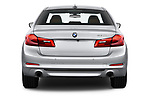 Straight rear view of 2019 BMW 5-Series 530I-Sport-Line 4 Door Sedan Rear View  stock images