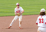 MIDDLETOWN, CT. 06 June 2018-060618BS573 - Wolcott's Ethan Gillotti (24) throws to first after fielding a grounder hit to him during the CIAC Tournament Class M Semi-Final baseball game between Ledyard and Wolcott at Palmer Field on Wednesday afternoon. Wolcott beat Ledyard 9-4 and advances to the Class M final this weekend. Bill Shettle Republican-American