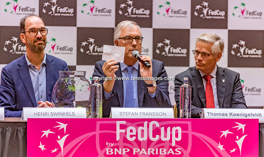 Den Bosch, The Netherlands, Februari 8, 2019,  Maaspoort , FedCup  Netherlands - Canada, Draw officials table ltr:  Henri Swinkels, Stefan Fransson, Thomas Koeningsfeldt .<br /> Photo: Tennisimages/Henk Koster