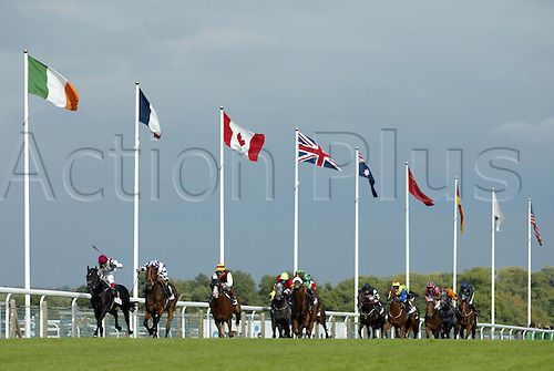 September 28, 2003: Horses race into the closing stages of the Mail On Sunday/Tote Mile Final Handicap at The NSPCC Family Day at Ascot. Photo: Glyn Kirk/action plus...horse racing 030928 horses flat jockeys flags