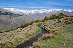 Water channel for irrigation known as an acequia, Sierra Nevada Mountains in the High Alpujarras, near Capileira, Granada Province, Spain