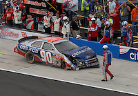 Apr 28, 2007; Talladega, AL, USA; Nascar Busch Series driver Stephen Leicht (90) pits after crashing during the Aarons 312 at Talladega Superspeedway. Mandatory Credit: Mark J. Rebilas