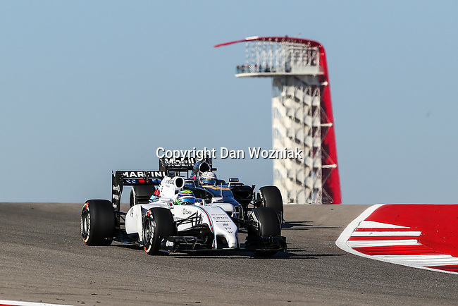 FELIPE MASSA (19) driver of the Williams Martini Racing car in action  during the last practice before the Formula 1 United States Grand Prix race at the Circuit of the Americas race track in Austin,Texas.