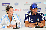 The Hague, Netherlands, June 14: Luciana Aymar #8 of Argentina and Head coach Carlos Retegui of Argentina during press conference after winning the field hockey bronze medal match (Women) between USA and Argentina on June 14, 2014 during the World Cup 2014 at Kyocera Stadium in The Hague, Netherlands. Final score 2-1 (2-1)  (Photo by Dirk Markgraf / www.265-images.com) *** Local caption ***